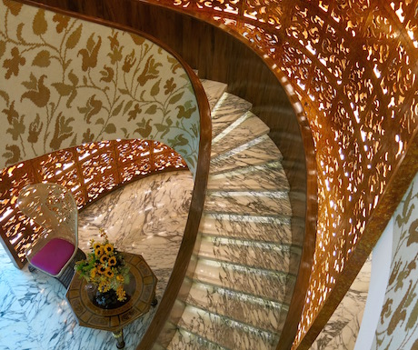 spiral staircase in the spa area at The Reverie Saigon