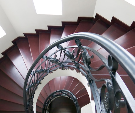 spiral staircase in the centre of Villa Song