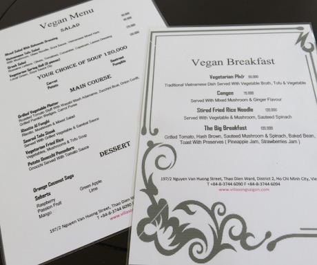 vegan menu at Villa Song