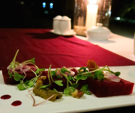 Beetroot salad served with baby cress at An Lam Villas.