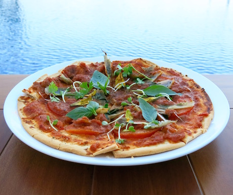Light and healthy pizza by the pool with a deliciously fresh and tangy tomato sauce