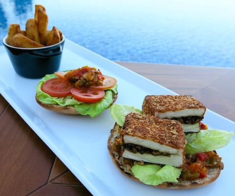 vegan tofu burger stuffed with teriyaki mushrooms at Fusion Resort Nha Trang