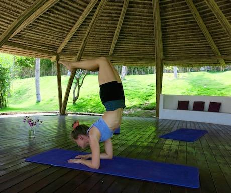 Carla demonstrating her yoga skills in the beautiful yoga pavilion.