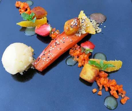 Dry roasted carrot, served with a carrot salsa, sunflower seeds poached in lemongrass and ginger syrup, juicy segments of local oranges, caramelised breadfruit and a breadfruit and orange sorbet at Mia Resort.