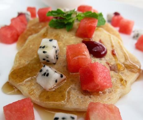 vegan strawberry oatmeal pancakes at Mia Resort Nha Trang