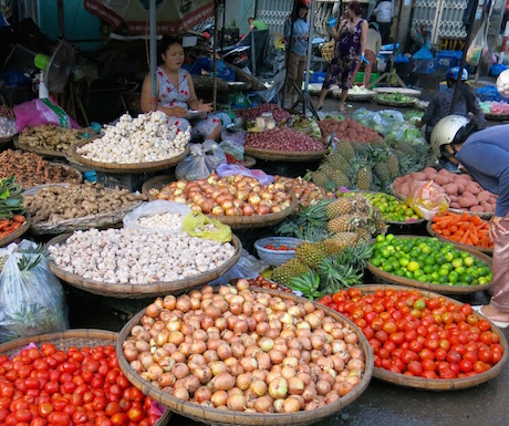 market stall with fruit and vegetables in Nha Trang