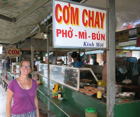 vegan food stall next to Cho Dam market in Nha Trang
