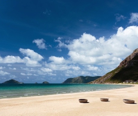 The idyllic beach at Six Senses Con Dao