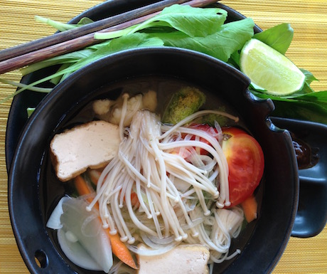 A steaming bowl of vegan pho is a great start to any day.