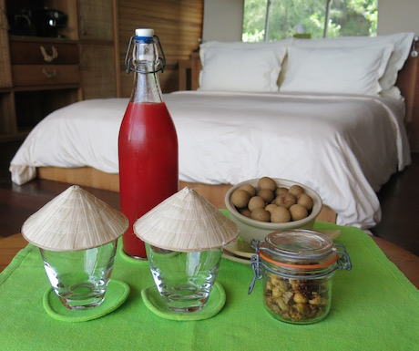 Freshly squeezed watermelon juice, spicy nuts and longan for us to snack on.