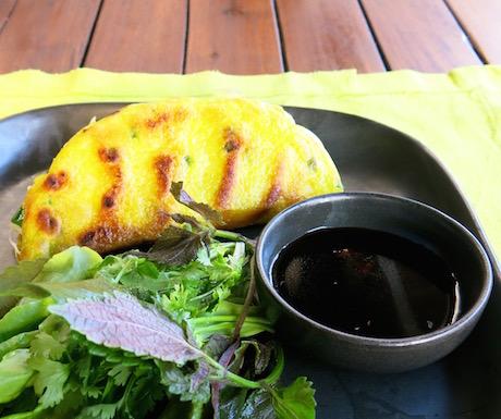 vegan Vietnamese banh xeo at Six Senses Con Dao