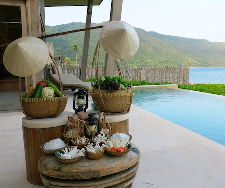 vegan hot pot in our luxury villa in Vietnam at Six Senses Con Dao