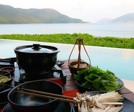 Vietnamese vegan hot pot at Six Senses Con Dao