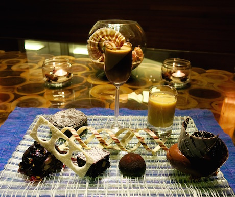 incredible chocolate tasting plate at the Chef's table in 'By the Kitchen'