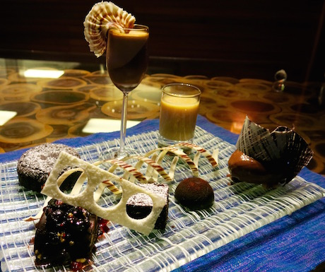 Chocolate tasting plate at the Chef's table in 'By the Kitchen'.