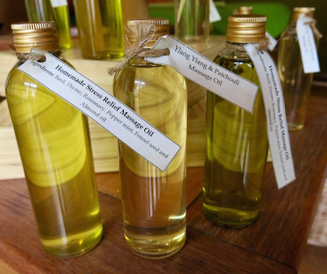 Vegan Ayurvedic hair oils made on site at the Six Senses Spa