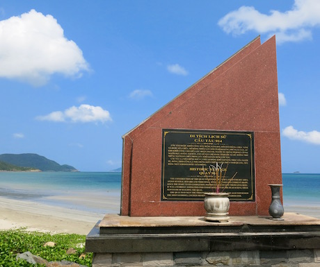 There are many shrines around the island like this one near the pier where hundred of people died during its construction.