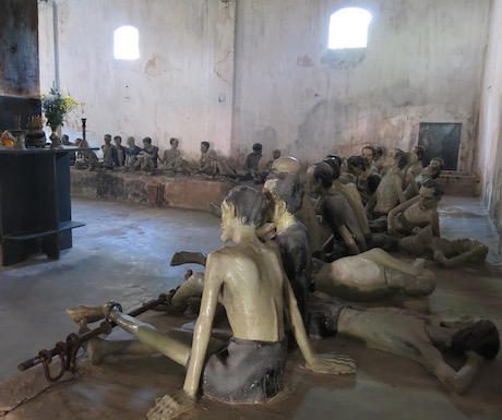 Life size statues give you an idea of the horrific conditions inside the prisons.