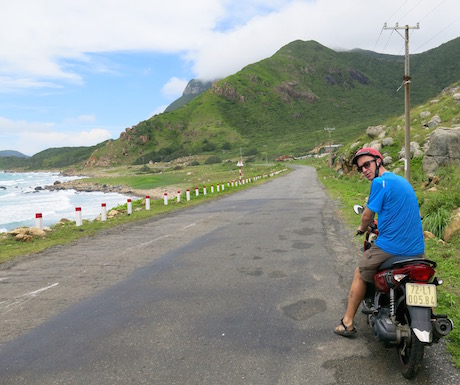 exploring Con Dao on a scooter