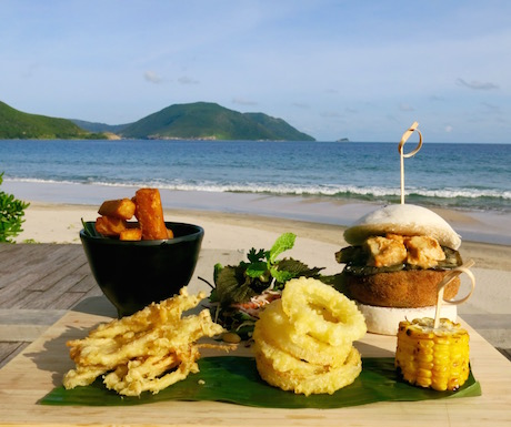 amazing vegan burger at Six Senses Con Dao