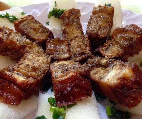mock roast pork with rolled 'sheets' of rice noodle at Ngoc Tho in Saigon