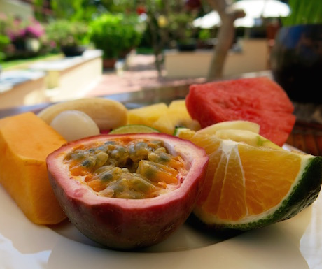 tropical fruit at breakfast