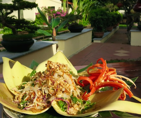 vegan banana flower salad at Victoria Hoi An Beach Resort