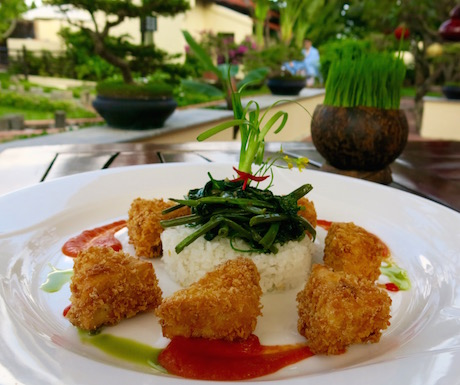 deep fried tofu, garlicky morning glory and steamed rice at Victoria Hoi An Beach Resort