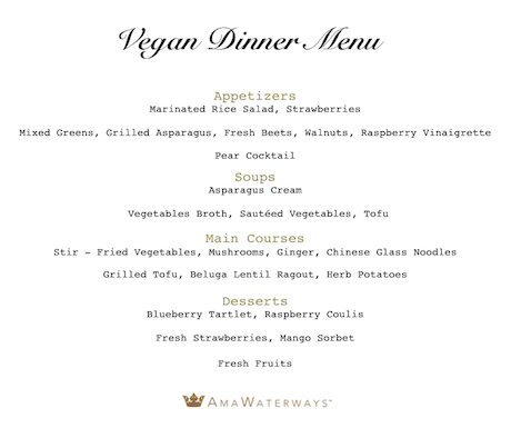 AmaWaterways Vegan Dinner Menu