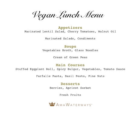 AmaWaterways Vegan Lunch Menu