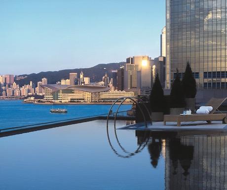 Infinity pool overlooking Victoria Harbour.