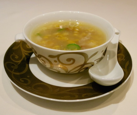 Sweetcorn Soup with Vegetables and Bamboo Pith at Lung King Heen.