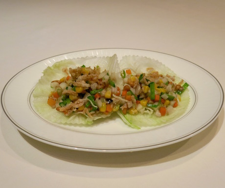 Stir Fried Minced Vegetables with Pine Nuts in Lettuce Wraps at Lung King Heen.