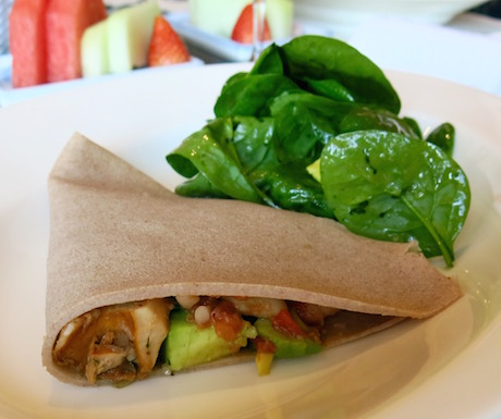 Healthy start to the day with a buckwheat and vegetable pancake.