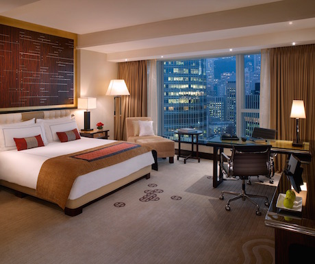 Our Deluxe Harbour View room at Four Seasons Hong Kong.