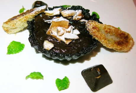vegan chocolate mousse tart was made with avocado and vegan magic