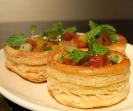 Mixed vegetable tarts in the Grand Club at Grand Hyatt Taipei