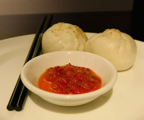 Steamed Chinese buns in the Grand Club at Grand Hyatt Taipei