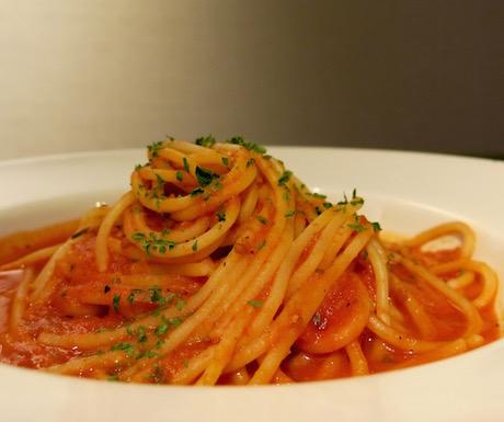 Spaghetti with tomato sauce in the Grand Club at Grand Hyatt Taipei
