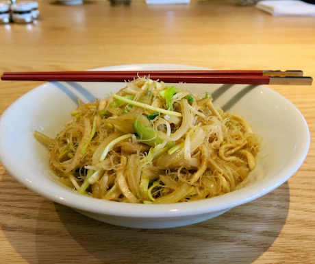 vegan noodle dish with vegetables at Grand Hyatt Taipei