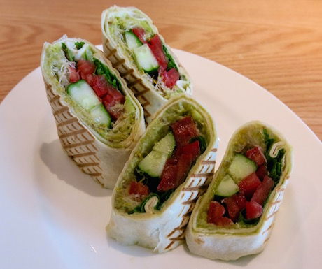 Healthy vegetable burrito option.