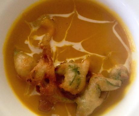 vegan pumpkin soup at Fusion Cafe in Hoi An