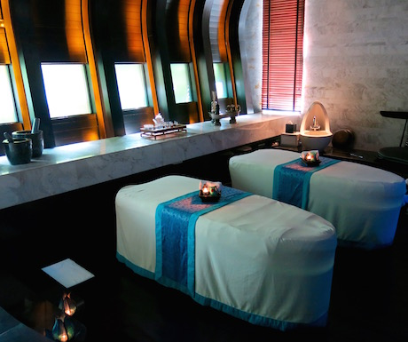Beautifully appointed treatment rooms within the Harnn Spa.