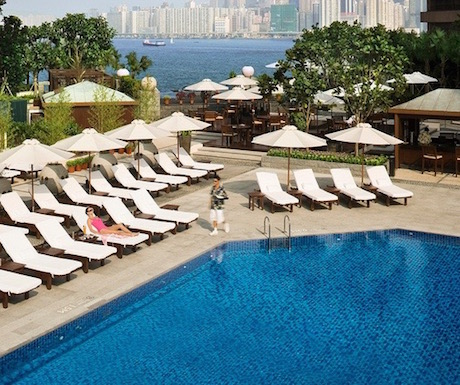 InterContinental Hong Kong swimming pool overlooking Victoria Harbour