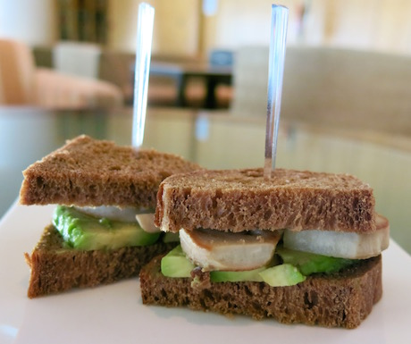 Fresh avocado and roasted mushroom sandwiches in Club InterContinental.