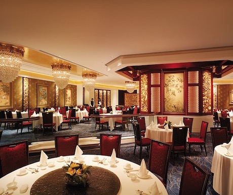 The elegant dining room of Summer Palace at Island Shangri La, Hong Kong.