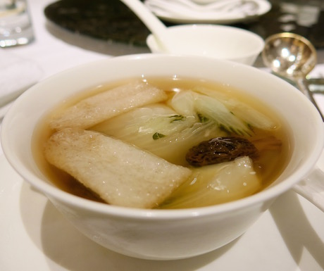 Double-boiled bamboo fungus soup with morel mushrooms and cabbage at Summer Palace.