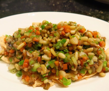Stir-fried minced vegetables with pine nuts served with lettuce at Summer Palace.