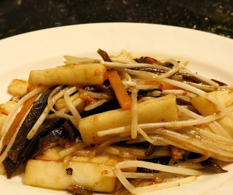 Stir-fried shredded black fungus with wild yam in vegetarian X.O sauce at Summer Palace.