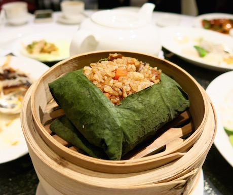 Vegetarian fried rice wrapped in lotus leaf at Summer Palace.